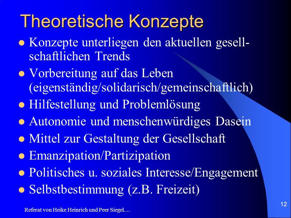 Referat von Heike Heinrich und Peer Siegel.... 12 Theoretische Konzepte Konzepte unterliegen den aktuellen gesell- schaftlichen Trends Vorbereitung au