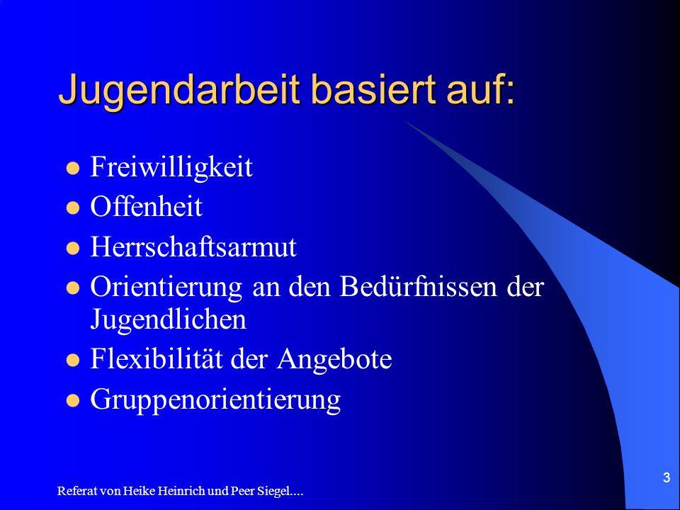 Referat von Heike Heinrich und Peer Siegel.... 3 Jugendarbeit basiert auf: Freiwilligkeit Offenheit Herrschaftsarmut Orientierung an den Bedürfnissen