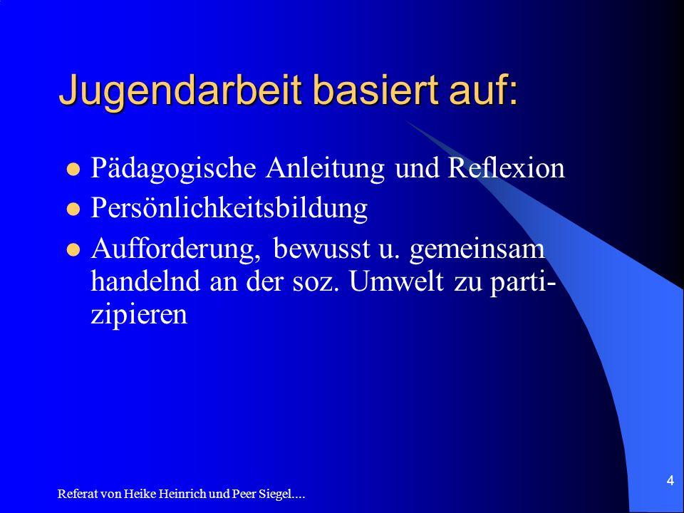 Referat von Heike Heinrich und Peer Siegel.... 4 Jugendarbeit basiert auf: Pädagogische Anleitung und Reflexion Persönlichkeitsbildung Aufforderung, b