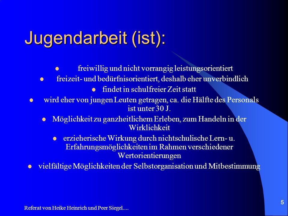 Referat von Heike Heinrich und Peer Siegel.... 5 Jugendarbeit (ist): freiwillig und nicht vorrangig leistungsorientiert freizeit- und bedürfnisorienti