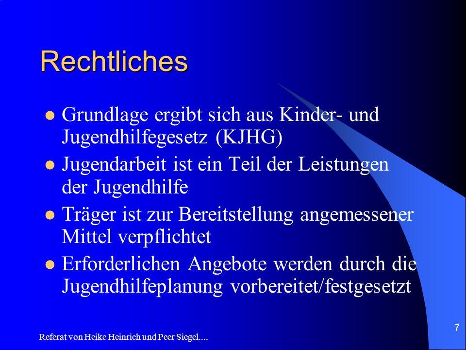 Referat von Heike Heinrich und Peer Siegel.... 7 Rechtliches Grundlage ergibt sich aus Kinder- und Jugendhilfegesetz (KJHG) Jugendarbeit ist ein Teil