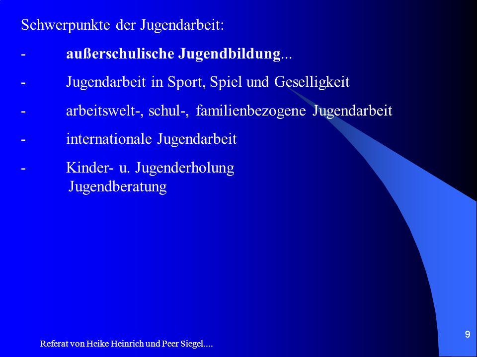 Referat von Heike Heinrich und Peer Siegel.... 9 Schwerpunkte der Jugendarbeit: - außerschulische Jugendbildung... - Jugendarbeit in Sport, Spiel und