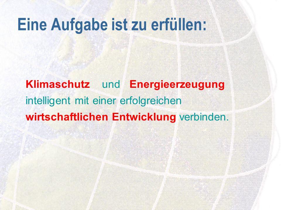 Eine Aufgabe ist zu erfüllen: Klimaschutz und Energieerzeugung intelligent mit einer erfolgreichen wirtschaftlichen Entwicklung verbinden.