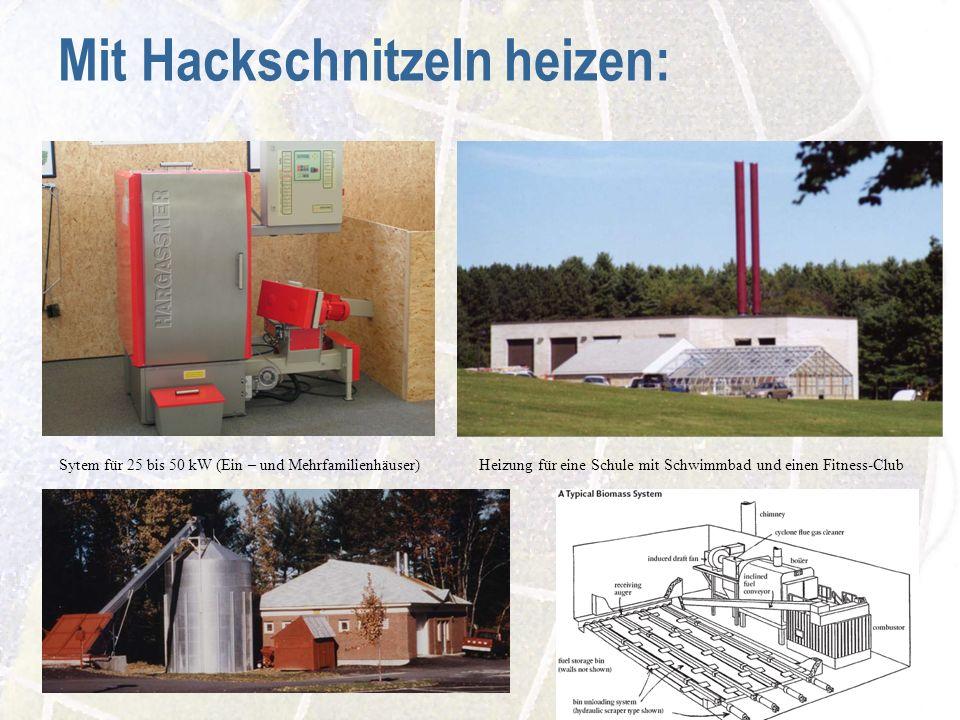 Mit Hackschnitzeln heizen: Sytem für 25 bis 50 kW (Ein – und Mehrfamilienhäuser) Heizung für eine Schule mit Schwimmbad und einen Fitness-Club
