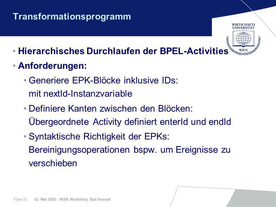 02. Mai 2005 - WSR Workshop Bad HonnefFolie 15 Transformationsprogramm Hierarchisches Durchlaufen der BPEL-Activities Anforderungen: Generiere EPK-Blö