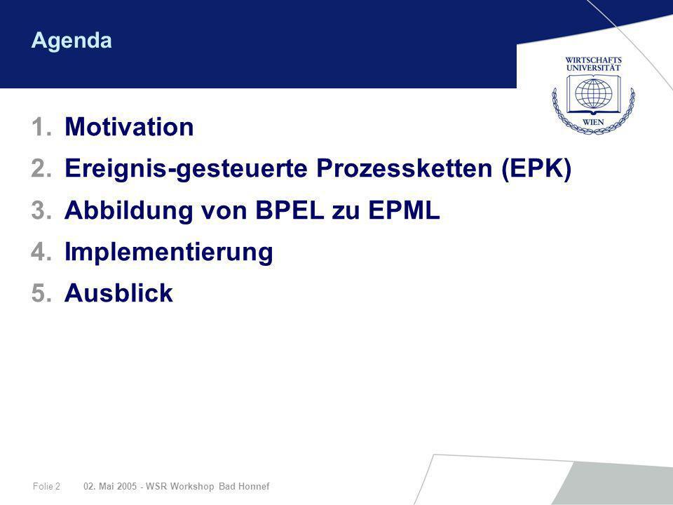 02. Mai 2005 - WSR Workshop Bad HonnefFolie 2 Agenda 1.Motivation 2.Ereignis-gesteuerte Prozessketten (EPK) 3.Abbildung von BPEL zu EPML 4.Implementie