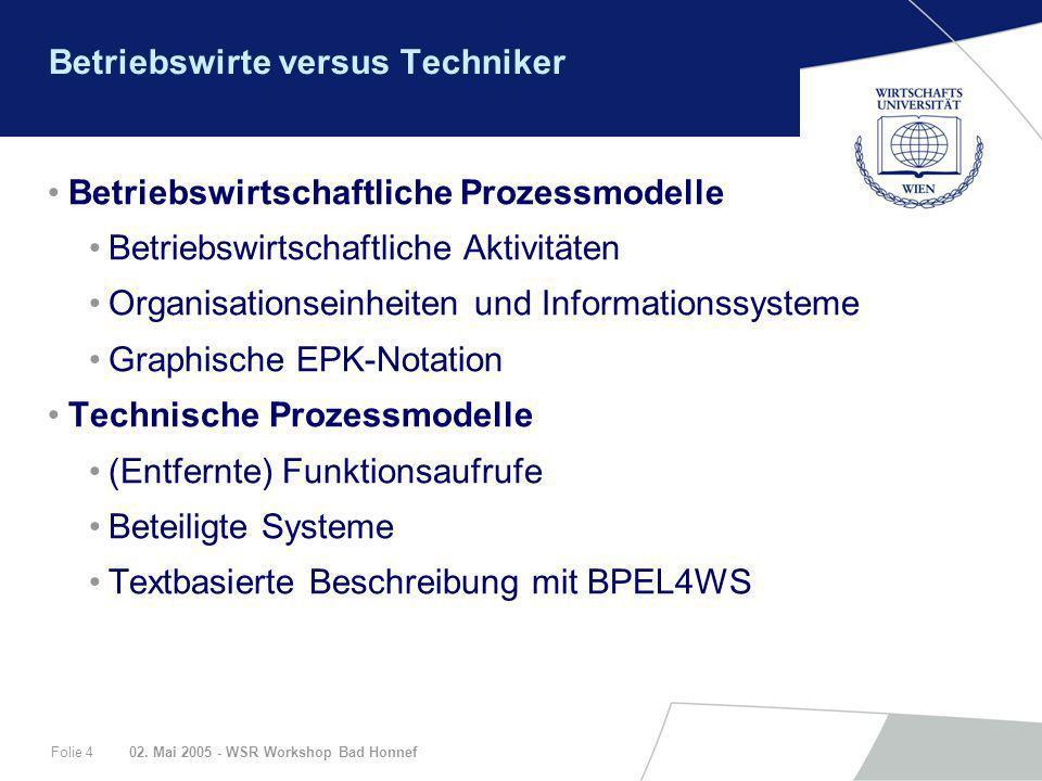 02. Mai 2005 - WSR Workshop Bad HonnefFolie 4 Betriebswirte versus Techniker Betriebswirtschaftliche Prozessmodelle Betriebswirtschaftliche Aktivitäte