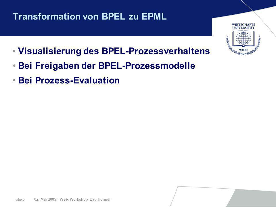 02. Mai 2005 - WSR Workshop Bad HonnefFolie 6 Transformation von BPEL zu EPML Visualisierung des BPEL-Prozessverhaltens Bei Freigaben der BPEL-Prozess