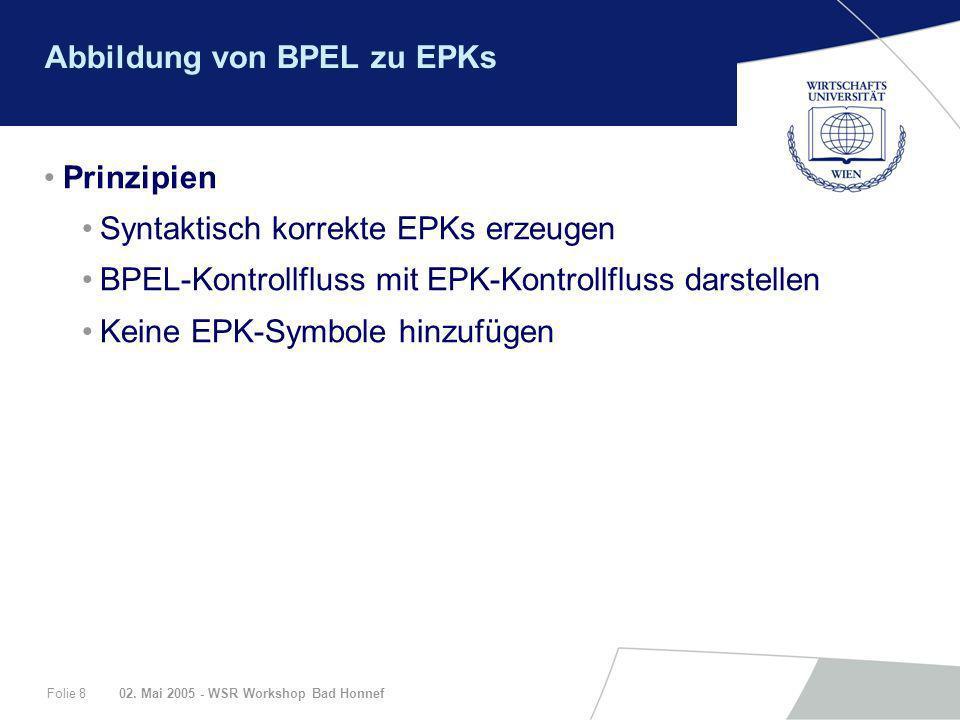 02. Mai 2005 - WSR Workshop Bad HonnefFolie 8 Abbildung von BPEL zu EPKs Prinzipien Syntaktisch korrekte EPKs erzeugen BPEL-Kontrollfluss mit EPK-Kont