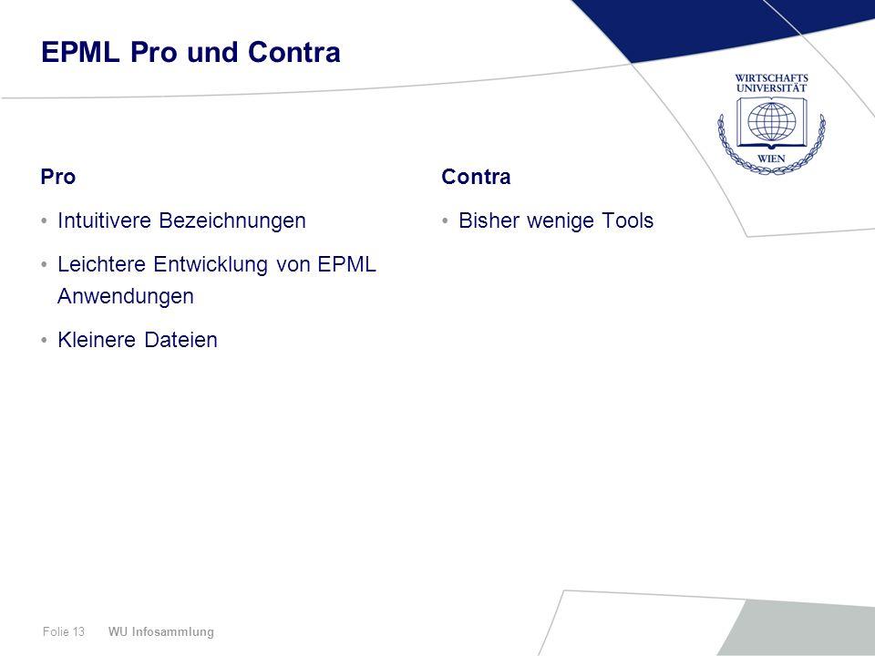 WU InfosammlungFolie 13 EPML Pro und Contra Pro Intuitivere Bezeichnungen Leichtere Entwicklung von EPML Anwendungen Kleinere Dateien Contra Bisher we