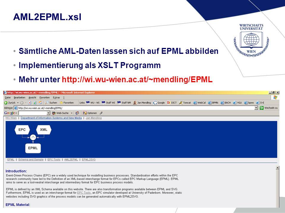 WU InfosammlungFolie 16 AML2EPML.xsl Sämtliche AML-Daten lassen sich auf EPML abbilden Implementierung als XSLT Programm Mehr unter http://wi.wu-wien.ac.at/~mendling/EPML
