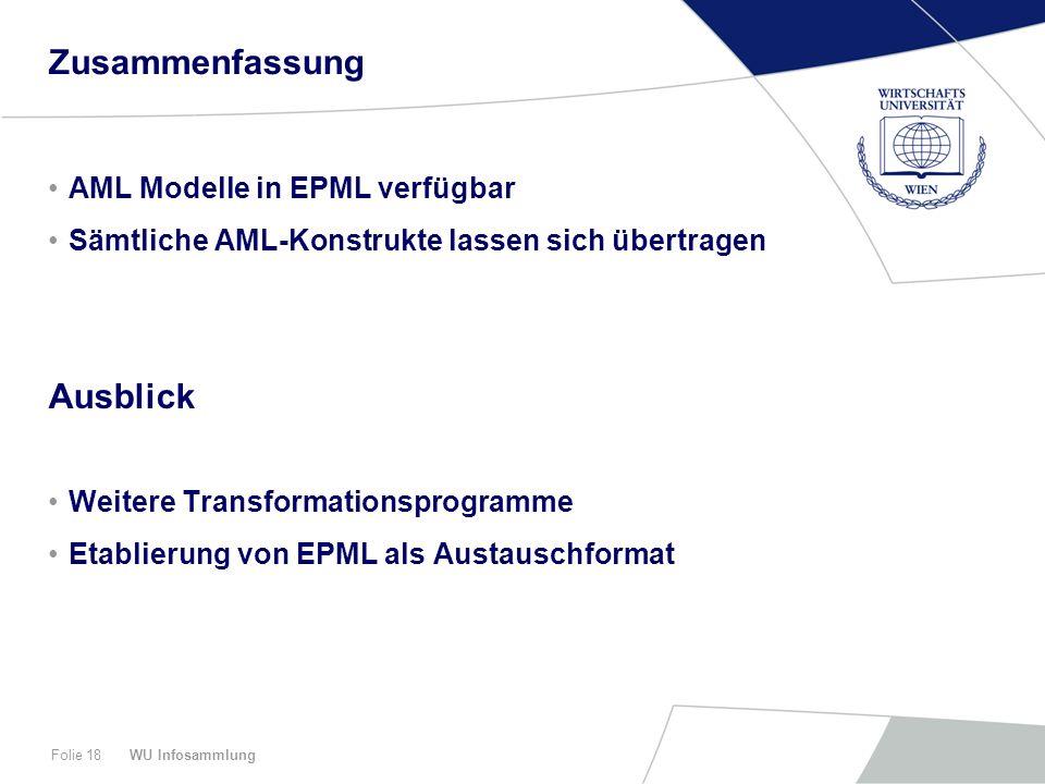 WU InfosammlungFolie 18 Zusammenfassung AML Modelle in EPML verfügbar Sämtliche AML-Konstrukte lassen sich übertragen Ausblick Weitere Transformationsprogramme Etablierung von EPML als Austauschformat