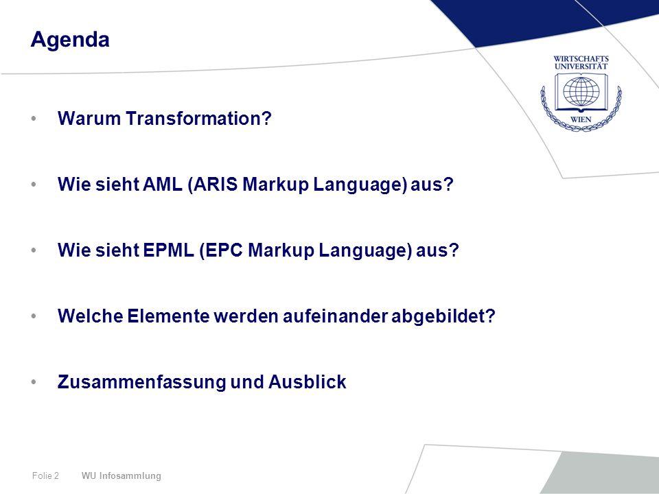 WU InfosammlungFolie 2 Agenda Warum Transformation? Wie sieht AML (ARIS Markup Language) aus? Wie sieht EPML (EPC Markup Language) aus? Welche Element