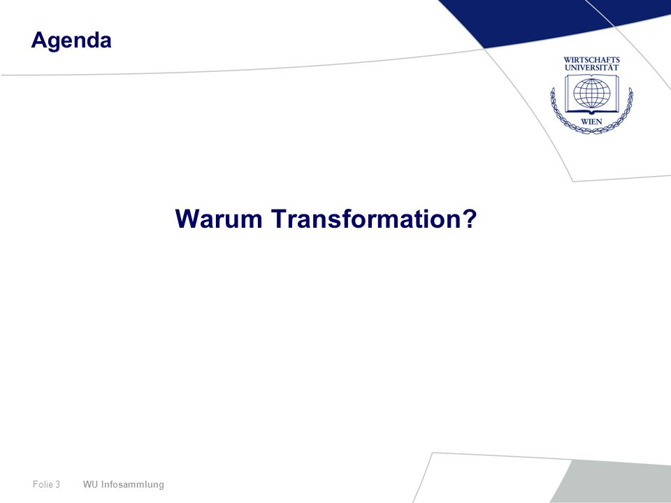 WU InfosammlungFolie 3 Agenda Warum Transformation?