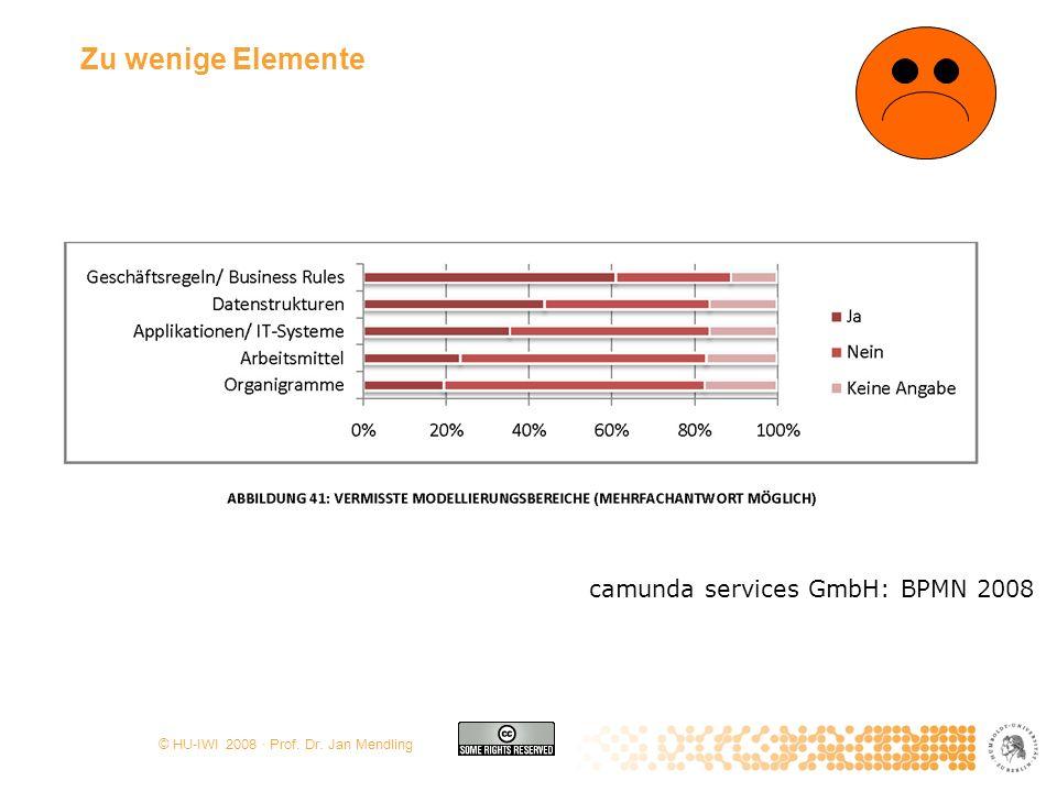 © HU-IWI 2008 · Prof. Dr. Jan Mendling Zu wenige Elemente camunda services GmbH: BPMN 2008