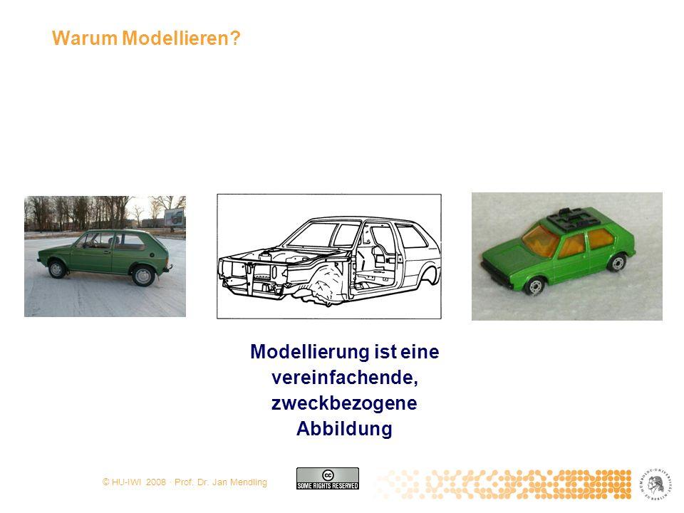 © HU-IWI 2008 · Prof. Dr. Jan Mendling Warum Modellieren? Modellierung ist eine vereinfachende, zweckbezogene Abbildung