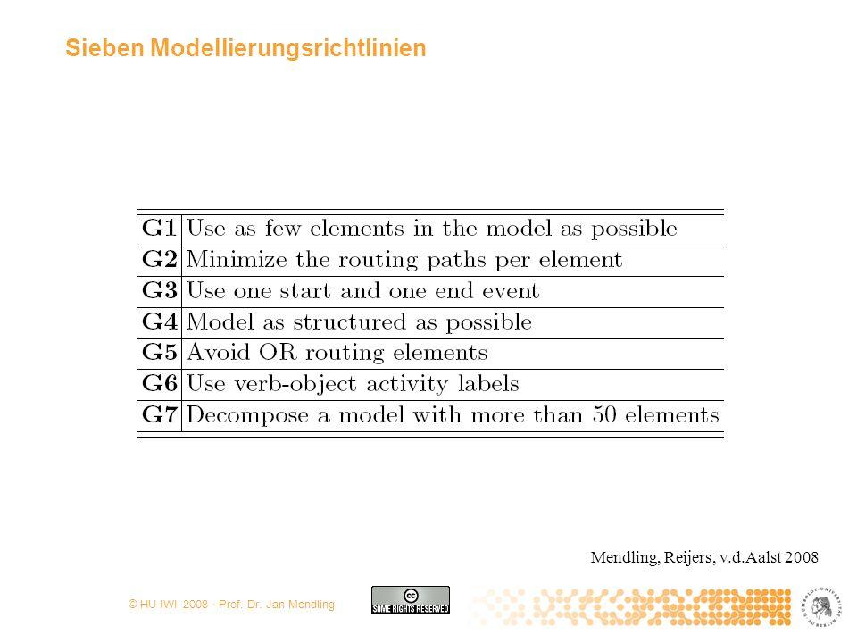 © HU-IWI 2008 · Prof. Dr. Jan Mendling Sieben Modellierungsrichtlinien Mendling, Reijers, v.d.Aalst 2008