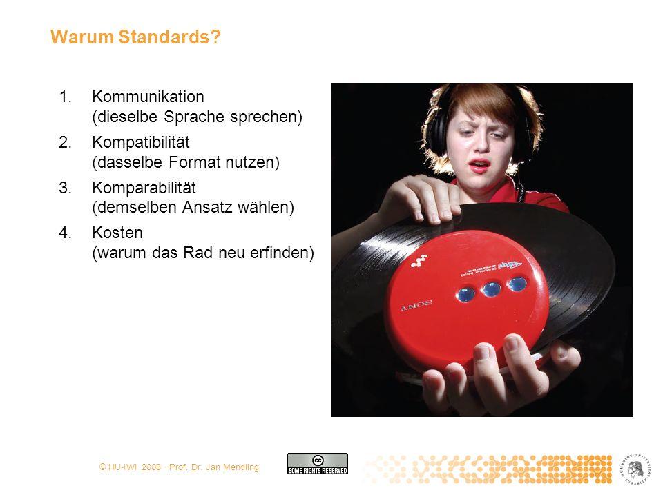 © HU-IWI 2008 · Prof. Dr. Jan Mendling Warum Standards? 1.Kommunikation (dieselbe Sprache sprechen) 2.Kompatibilität (dasselbe Format nutzen) 3.Kompar