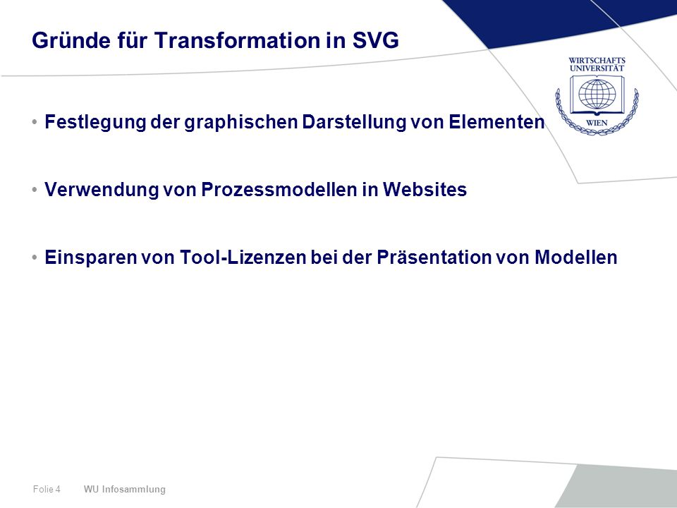 WU InfosammlungFolie 4 Gründe für Transformation in SVG Festlegung der graphischen Darstellung von Elementen Verwendung von Prozessmodellen in Websites Einsparen von Tool-Lizenzen bei der Präsentation von Modellen
