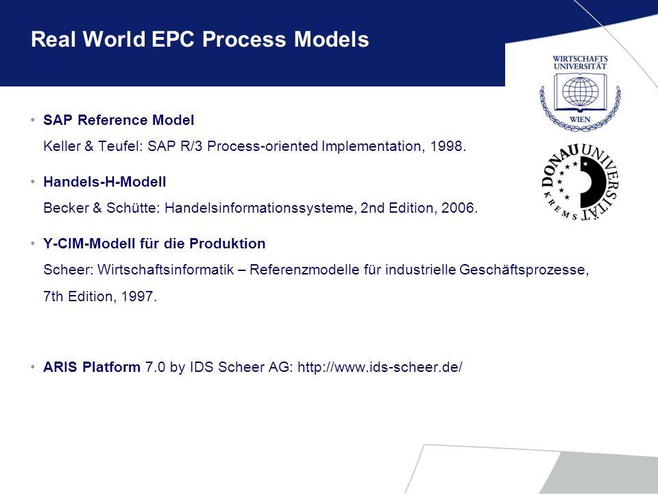 Real World EPC Process Models SAP Reference Model Keller & Teufel: SAP R/3 Process-oriented Implementation, 1998. Handels-H-Modell Becker & Schütte: H