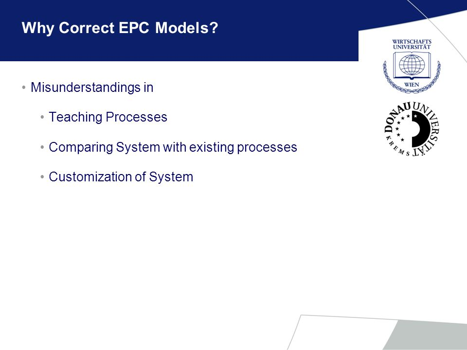 Why Correct EPC Models? Misunderstandings in Teaching Processes Comparing System with existing processes Customization of System