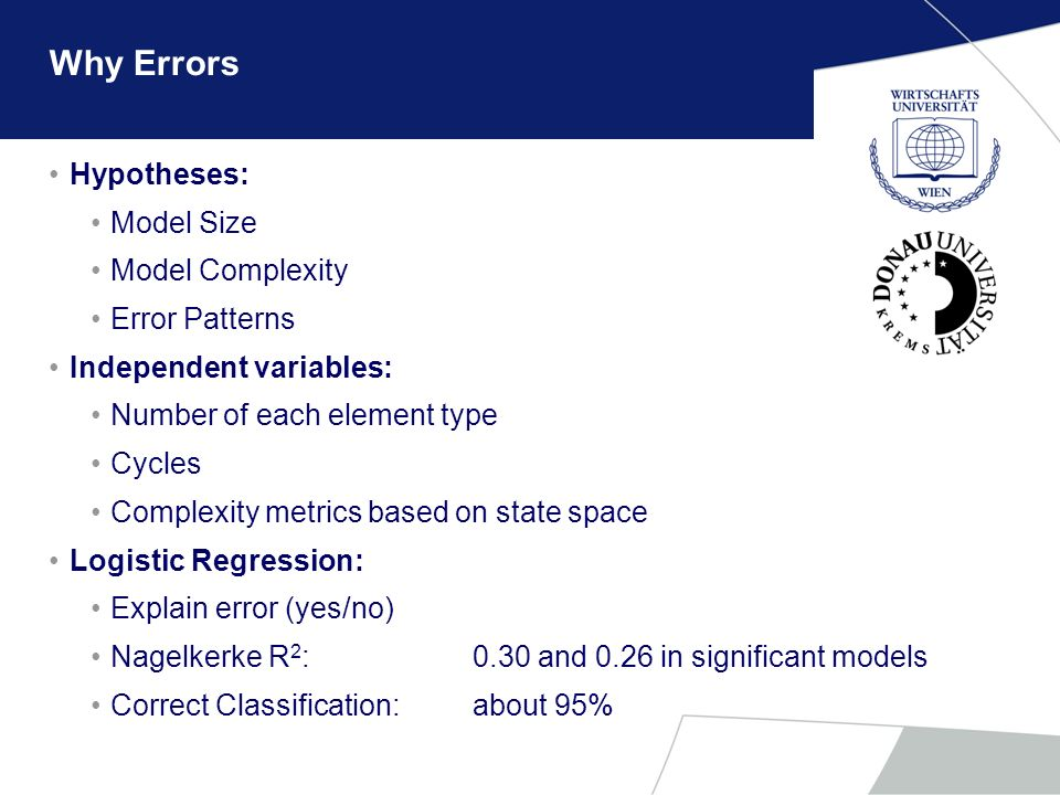 Why Errors Hypotheses: Model Size Model Complexity Error Patterns Independent variables: Number of each element type Cycles Complexity metrics based o