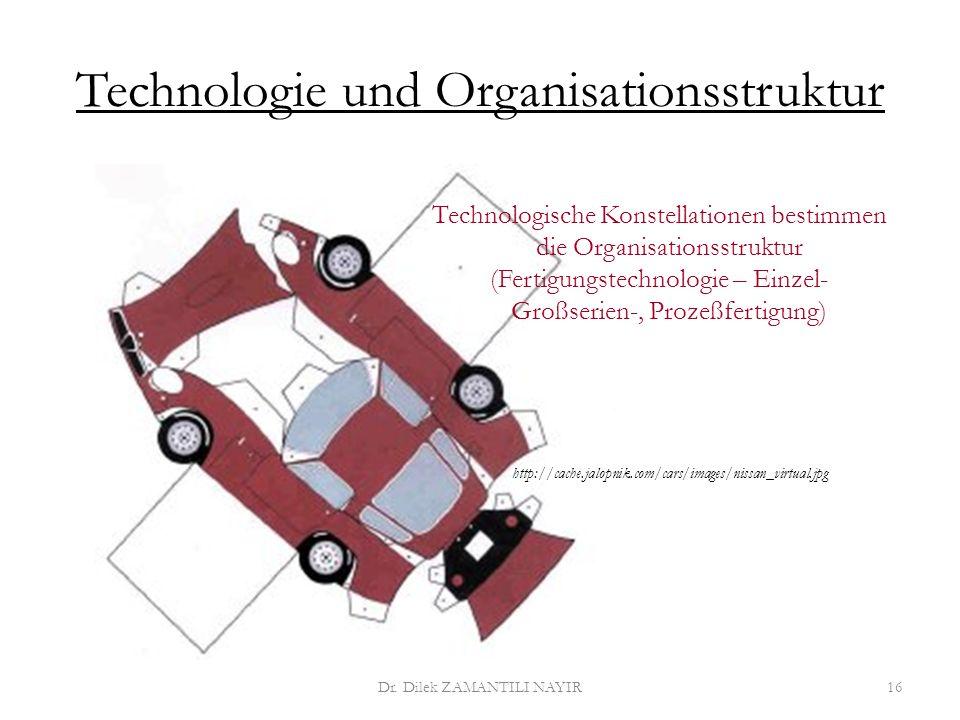 Technologie und Organisationsstruktur Dr. Dilek ZAMANTILI NAYIR16 Technologische Konstellationen bestimmen die Organisationsstruktur (Fertigungstechno