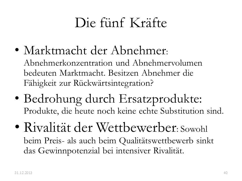 Die fünf Kräfte am Beispiel der Haarkosmetikbranche 31.12.201341 wwwfl.ebs.de/Lehrstuehle/wwwfl.ebs.de/Lehrstuehle/Aussenwirtschaft/Lehre/Wahlpflichtfach_IMC/Workshop_IM/ paper_praesentationen/L%27Or%C3%A9al-mit%2520Back-up.pdf+ %22Swot+Analyse%22+und+%22Henkel%22&hl=de&ie=UTF-8 Bedrohung durch neue Konkurrenten: - Produktdifferenzierung - Economies of scale - Neue Distributionswege - Know-How Bedrohung durch Substitute: - Keine Verhandlungsstärke der Lieferanten: - Geringe Konzentration - Einfache Inhaltsstoffe - Kaum Rückwärtsintegration Verhandlungsstärke der Abnehmer: - Einige Handelsketten - Geringe Wechselkosten - Friseurketten Rivalität der Branche - Geringes Marktwachstum - Breite Kundengruppe - Hohe Gewinnmargen - Hohe Marketingskosten