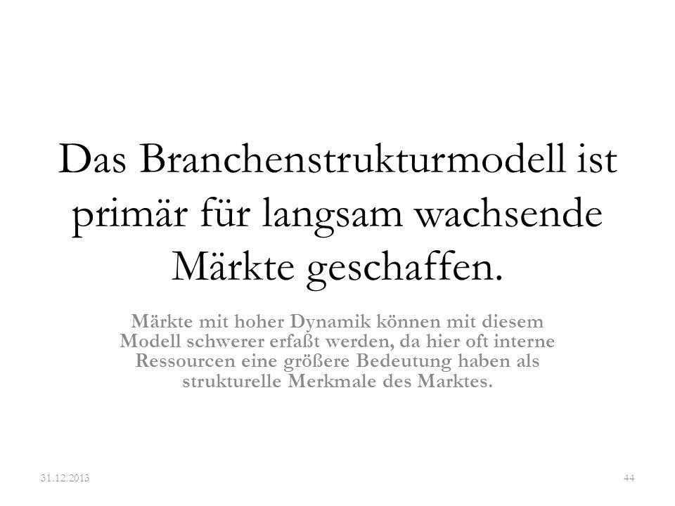 Das Branchenstrukturmodell ist primär für langsam wachsende Märkte geschaffen. Märkte mit hoher Dynamik können mit diesem Modell schwerer erfaßt werde