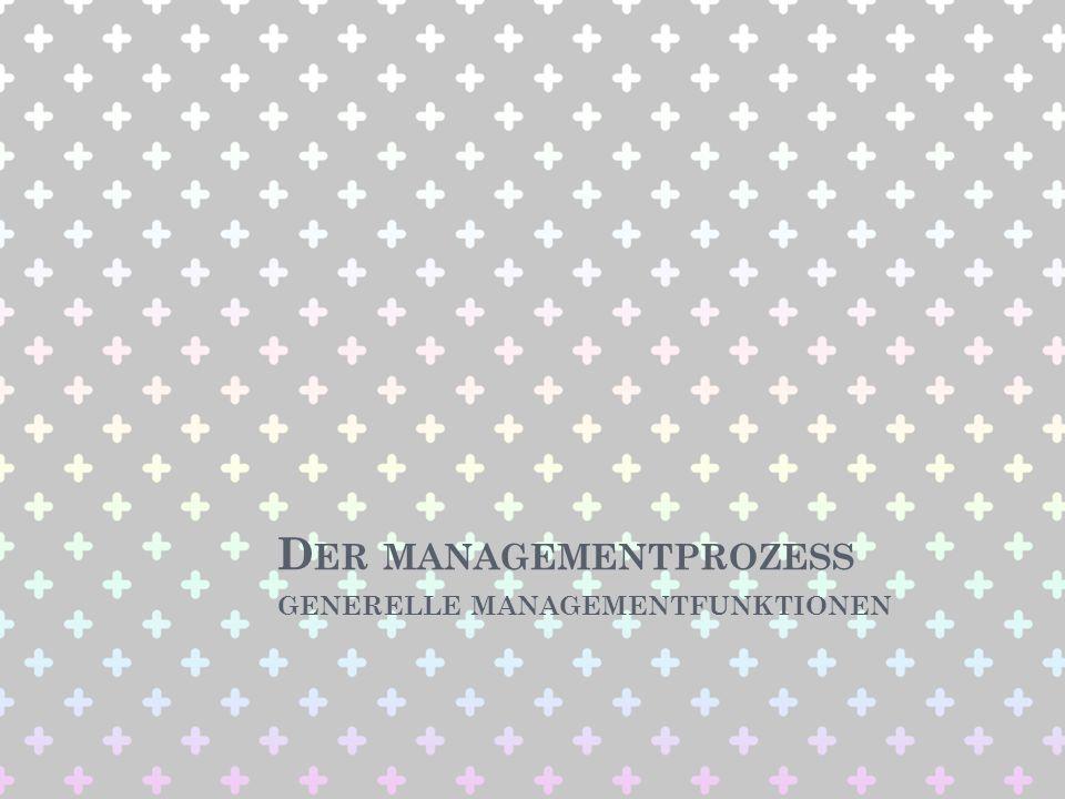 D ARSTELLUNG DES M ANAGEMENTPROZESSES Management hat die Aufgabe, Unternehmen zielorientiert zu gestalten/lenken.