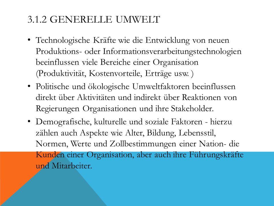 3.1.2 GENERELLE UMWELT Technologische Kräfte wie die Entwicklung von neuen Produktions- oder Informationsverarbeitungstechnologien beeinflussen viele