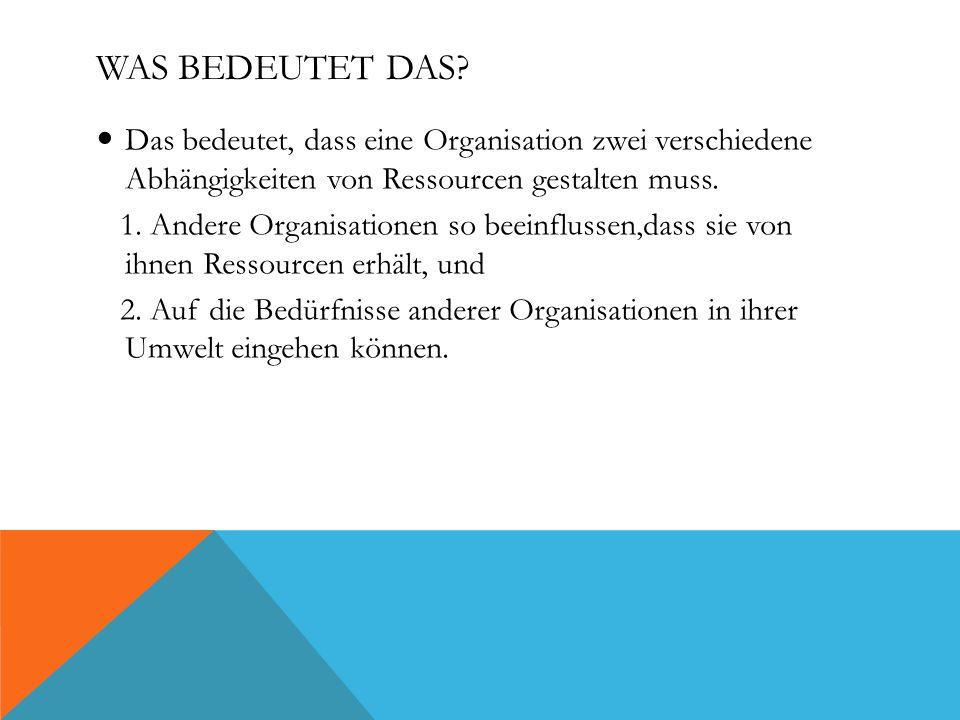 WAS BEDEUTET DAS? Das bedeutet, dass eine Organisation zwei verschiedene Abhängigkeiten von Ressourcen gestalten muss. 1. Andere Organisationen so bee
