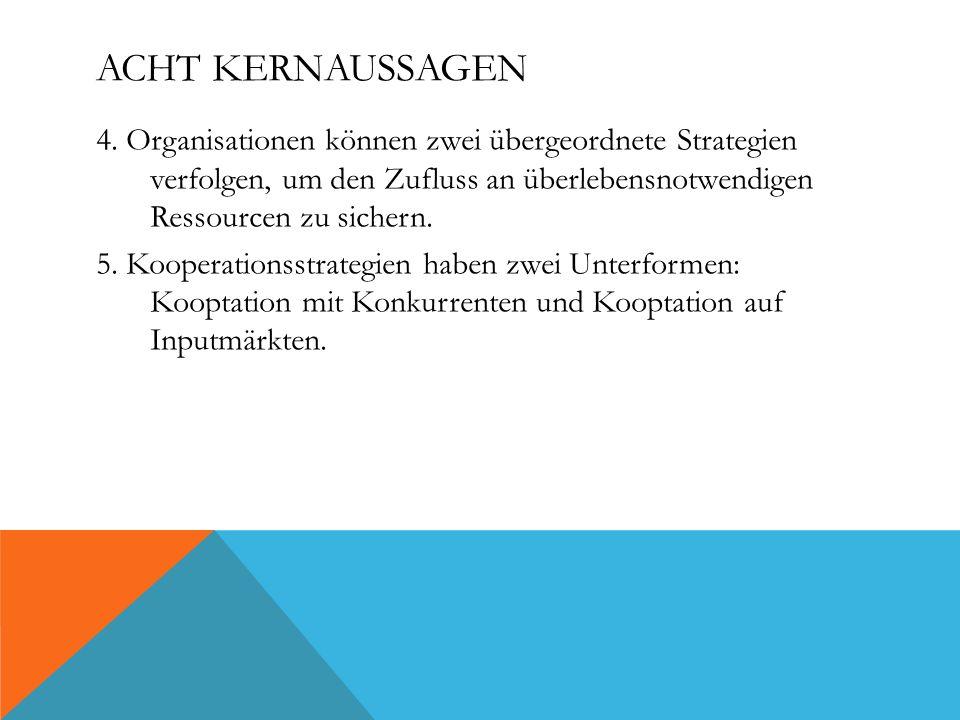ACHT KERNAUSSAGEN 4. Organisationen können zwei übergeordnete Strategien verfolgen, um den Zufluss an überlebensnotwendigen Ressourcen zu sichern. 5.