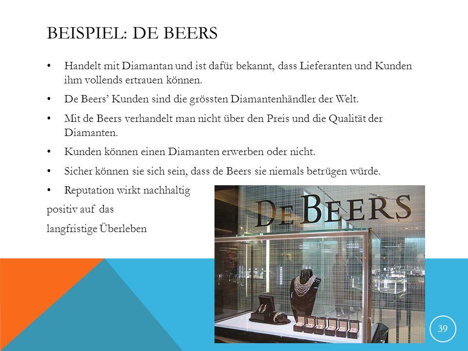 BEISPIEL: DE BEERS Handelt mit Diamantan und ist dafür bekannt, dass Lieferanten und Kunden ihm vollends ertrauen können. De Beers Kunden sind die grö