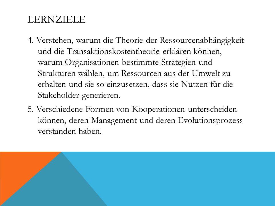 LERNZIELE 4. Verstehen, warum die Theorie der Ressourcenabhängigkeit und die Transaktionskostentheorie erklären können, warum Organisationen bestimmte