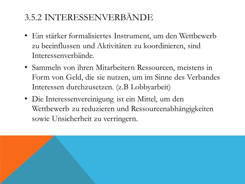 3.5.2 INTERESSENVERBÄNDE Ein stärker formalisiertes Instrument, um den Wettbewerb zu beeinflussen und Aktivitäten zu koordinieren, sind Interessenverb