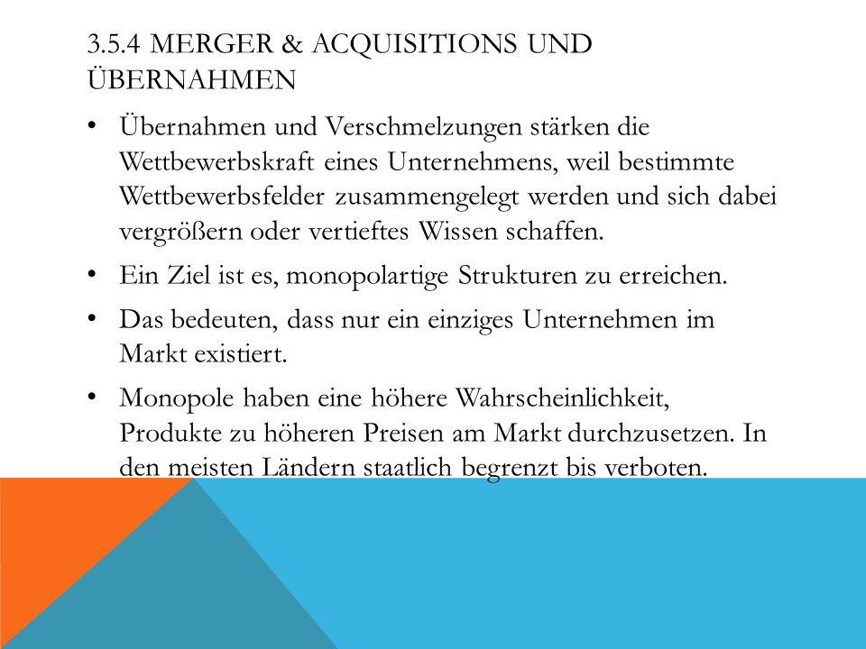3.5.4 MERGER & ACQUISITIONS UND ÜBERNAHMEN Übernahmen und Verschmelzungen stärken die Wettbewerbskraft eines Unternehmens, weil bestimmte Wettbewerbsf