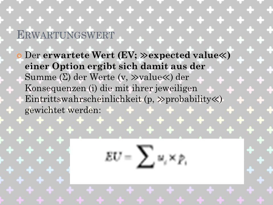 E RWARTUNGSWERT Der erwartete Wert (EV; expected value ) einer Option ergibt sich damit aus der Summe (Σ) der Werte (v, value ) der Konsequenzen (i) d