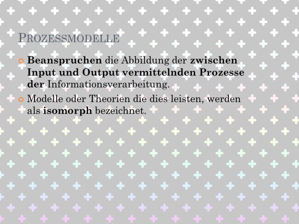 P ROZESSMODELLE Beanspruchen die Abbildung der zwischen Input und Output vermittelnden Prozesse der Informationsverarbeitung. Modelle oder Theorien di