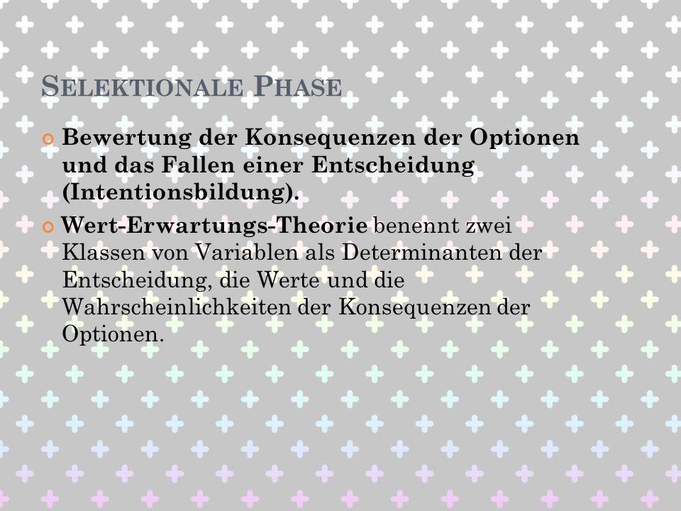 S ELEKTIONALE P HASE Bewertung der Konsequenzen der Optionen und das Fallen einer Entscheidung (Intentionsbildung). Wert-Erwartungs-Theorie benennt zw