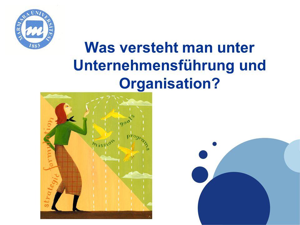 Company LOGO Was versteht man unter Unternehmensführung und Organisation?