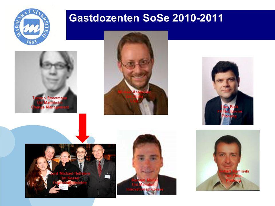 Company LOGO Gastdozenten SoSe 2010-2011 Tammo Straatmann Uni Mannheim Change Management Michael Assländer Uni Zittau CSR Uwe Burk FH Hei,lbronn Planu