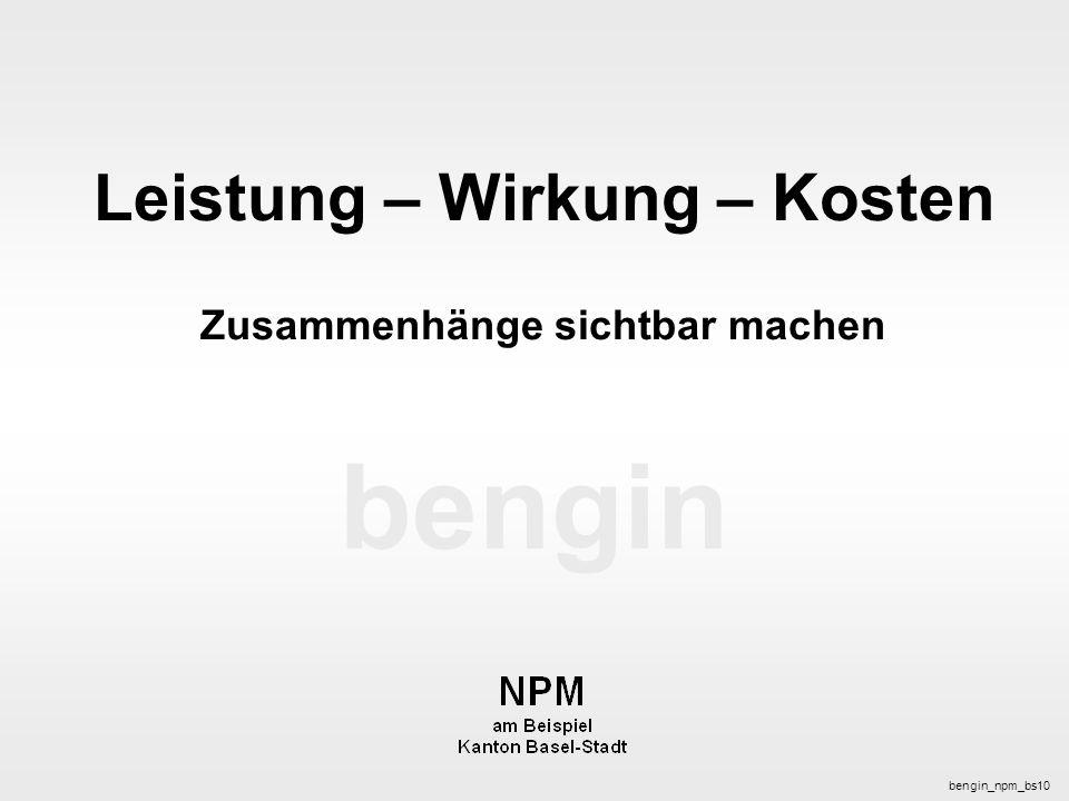 bengin 1 © 2003 bengin.com Leistung - Wirkung - Kosten bengin bengin_npm_bs10 Leistung – Wirkung – Kosten Zusammenhänge sichtbar machen