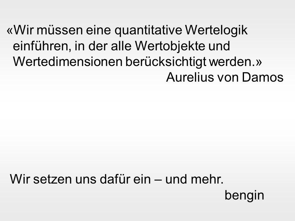 bengin 27 © 2003 bengin.com Leistung - Wirkung - Kosten «Wir müssen eine quantitative Wertelogik einführen, in der alle Wertobjekte und Wertedimensionen berücksichtigt werden.» Aurelius von Damos Wir setzen uns dafür ein – und mehr.
