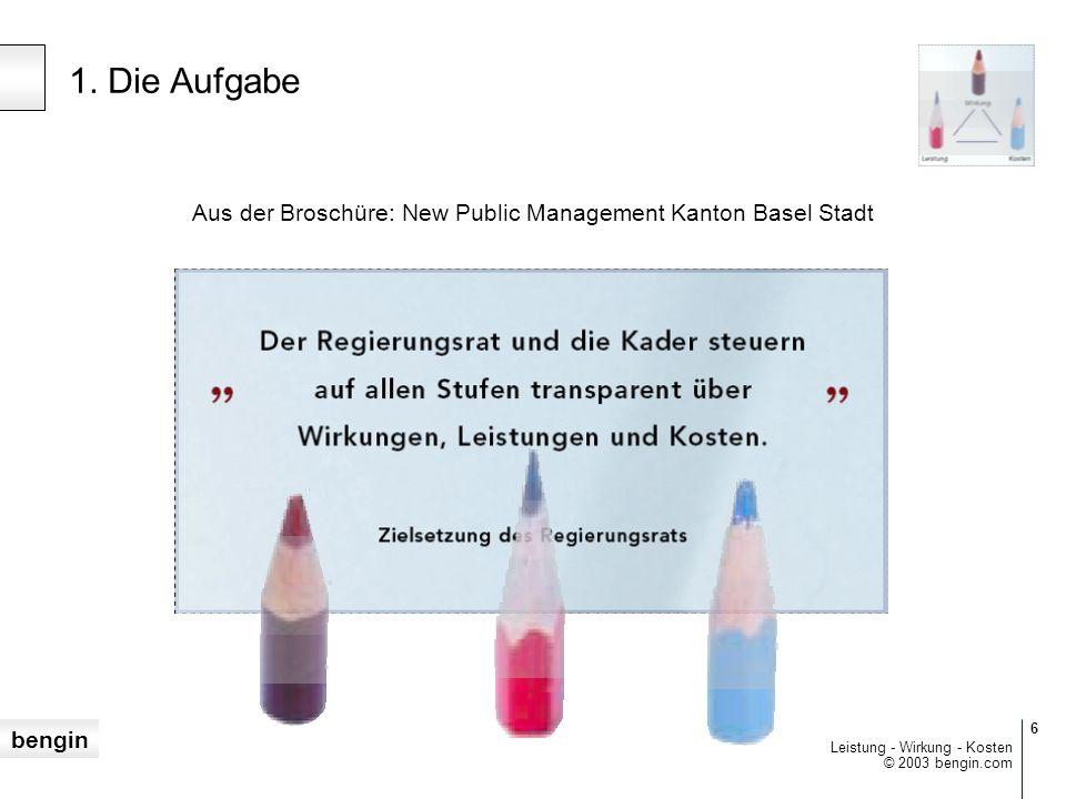 bengin 6 © 2003 bengin.com Leistung - Wirkung - Kosten Aus der Broschüre: New Public Management Kanton Basel Stadt 1.