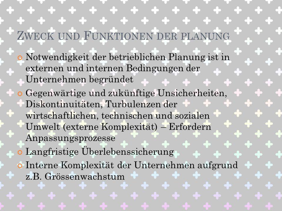 Z WECK UND F UNKTIONEN DER PLANUNG Notwendigkeit der betrieblichen Planung ist in externen und internen Bedingungen der Unternehmen begründet Gegenwär