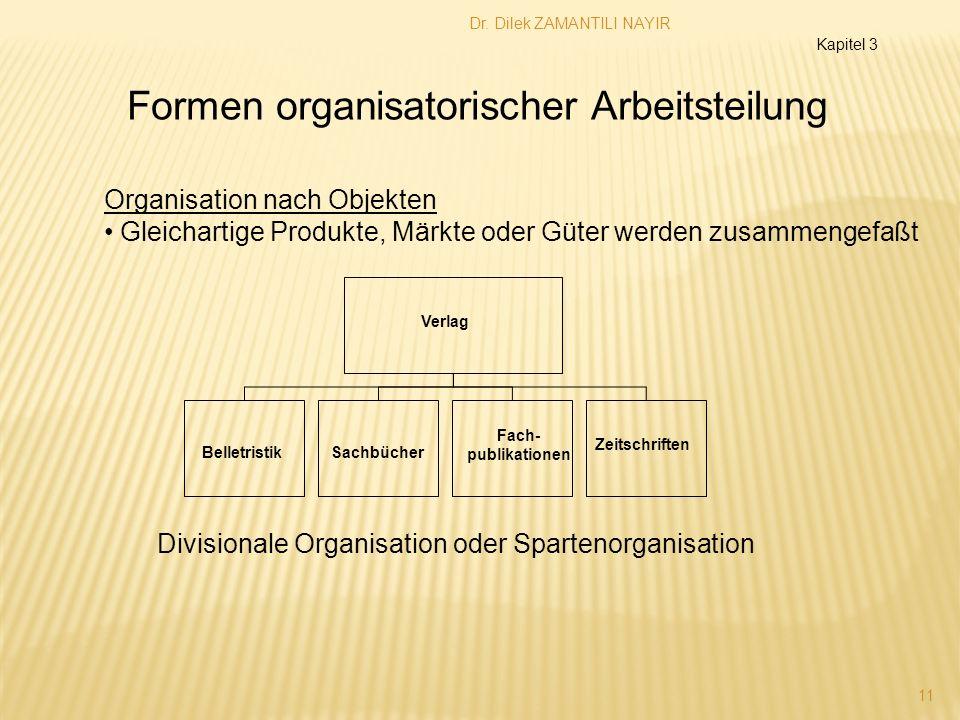 Dr. Dilek ZAMANTILI NAYIR 11 Kapitel 3 Organisation nach Objekten Gleichartige Produkte, Märkte oder Güter werden zusammengefaßt Formen organisatorisc