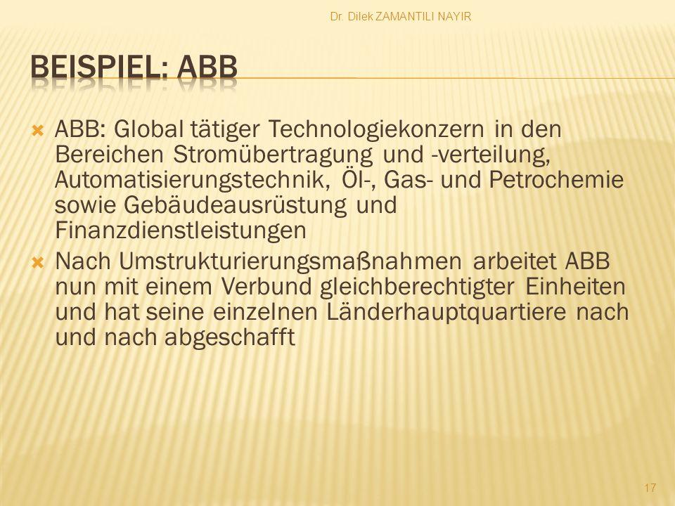 Dr. Dilek ZAMANTILI NAYIR 17 ABB: Global tätiger Technologiekonzern in den Bereichen Stromübertragung und -verteilung, Automatisierungstechnik, Öl-, G