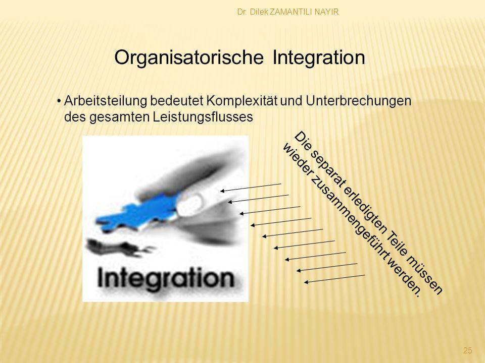 Dr. Dilek ZAMANTILI NAYIR 25 Organisatorische Integration Arbeitsteilung bedeutet Komplexität und Unterbrechungen des gesamten Leistungsflusses Die se