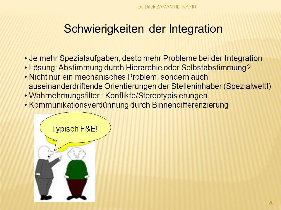 Dr. Dilek ZAMANTILI NAYIR 26 Schwierigkeiten der Integration Je mehr Spezialaufgaben, desto mehr Probleme bei der Integration Lösung: Abstimmung durch